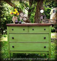 Green & brown refurbished dresser. Perfect amount of distress.