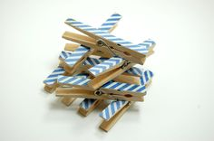 Nautical Clothespins white and blue striped antiqued set of 10. $8.00, via Etsy.