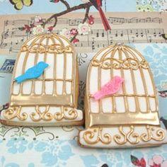 Birdcage decorated sugar cookies