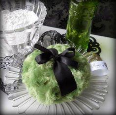 Green Powder Puff olive moss pouf by BonnyBubbles, $11.95 #powderpuff #moss #nostalgia