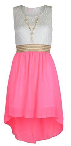 7b968d08d5cd Girls Sleeveless Waist Band Asymmetrical Chiffon Dress with Neckless: Amazon .co.uk: Clothing