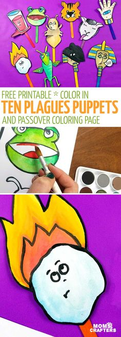 Print and craft these fun Passover puppets - featuring the ten plagues in a fun craft for kids. You'll also get a free printable ten plagues coloring page! #Passover #momsandcrafters #tenplagues