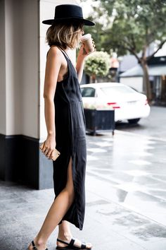 Minimal and Chic | Fedora | All Black | Street Style | Wrap Dress | HarperandHarley