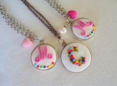 M, C and M Monograms, Washer Necklace, Polymer Clay, Jewelry, Jewlery, Bijoux, Schmuck, Jewerly, Jewels
