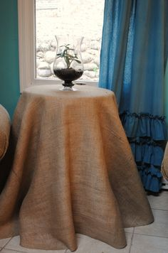 Hate the burlap but the ruffles on the curtain (and the color of the curtain) are really cute