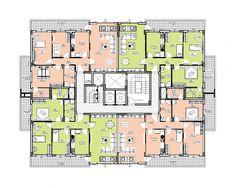 Plans Architecture, Concept Architecture, Residential Architecture, Flat Plan, Building Elevation, Building Concept, Apartment Plans, Building Plans, House Plans