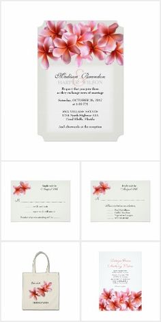 Getting married in Hawaii?  Or maybe your beach wedding will have an island theme.  Our Hawaiian Pink Plumeria wedding invitation set is adorned with exotic and lovely pink flowers with orange centers.  The floral images are reminiscent of the tropical flowers that are often used to make Hawaiian leis.