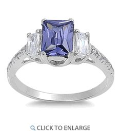 Sterling Silver 3 Stone Tanzanite CZ Ring