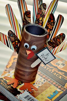 "Fun for Thanksgiving.   I think I'd use popsicle sticks for the feathers and write ""thankful"" things on them"