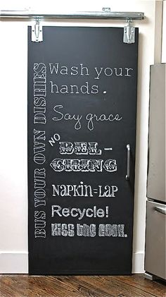 CHALK it up to childhood DIY Chalkboard Kitchen Pantry Door DIY chalkboard doors Read how to make Kitchen Pantry Doors, Pantry Closet, Diy Kitchen, Closet Doors, Kitchen Pantries, Kitchen Rules, Kitchen Country, Chalk It Up