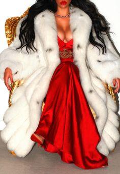 WHITE LUSH ARCTIC BLUE REAL SAGA FOX FUR COAT JACKET FULL LENGTH LYNX EFFECT! L