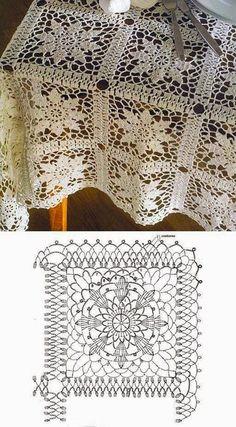 Crochet tablecloth..Schema di |