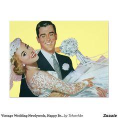 De vintage Jonggehuwden van het Huwelijk, 10,8x13,9 Uitnodiging Kaart