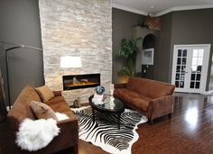 Gorgeous dimplex fireplace in Living Room Contemporary with Stone Fireplace Wall…