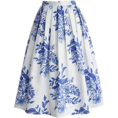 Chicwish Blue Floral Sketch Pleated Midi Skirt ($48) ❤ liked on Polyvore featuring skirts, bottoms, saias, faldas, white, midi skirt, pleated midi skirt, white midi skirt, blue pleated skirt and mid calf skirts
