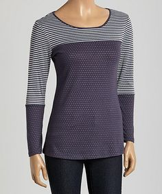 Look what I found on #zulily! Blue & Gray Stripe Long-Sleeve Tee by Casual Freedom #zulilyfinds