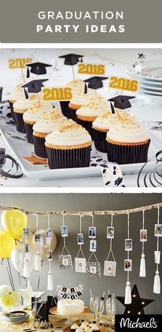 Celebrate the grad with these fun DIY party projects. Dress up cupcakes with cute toppers or create a fun photo banner of the graduate through the years. For more graduation party ideas visit Michaels Graduation Party Planning, College Graduation Parties, Graduation Celebration, Graduation Decorations, Graduation Party Decor, Graduation Photos, Grad Parties, Graduation Gifts, Graduation Banner