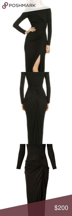 Forbidden Territory Black Gown Gorg-a-rama! Feel like the ultimate Bond girl in this stunning gown by Badgley Mischka - it's the perfect pick for your next black tie affair.  BUST: Great for any cup size - fitted at bust Size 10: 34 Size 12: 36 WAIST: Very fitted - fitted at natural waist  HIPS: Very fitted - fitted at hips with fuller skirt below hips  LENGTH: Floor length - Four lengths available. Regular measures 58'' from shoulder to hem Badgley Mischka Dresses Long Sleeve