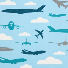 light blue fabric for boys with airplanes by Robert Kaufman
