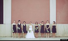 Love the bridesmaid dresses- same color, material and length but different styles on top.