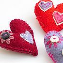 Hand Embroidered Love Heart Brooch