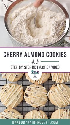 Cherry Almond Cookies are perfect for snacking! They even make great gifts during the holiday season. They're gluten-free almond cookies speckled with dried cherries and topped with a white chocolate drizzle. #ad #betterwithbobs