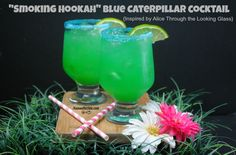 "This ""Smoking Hookah Blue Caterpillar Cocktail that is inspired by Alice Through the Looking Glass is just 4 ingredients!"