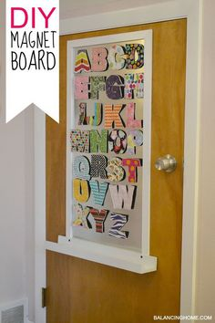 Magnet Door Board.  These sewing letters in different colors looks so great and adorable on the door. Use them to decorate the door of your kids.