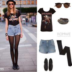 When the sun rises, walking out of the room dressed up with shirt and simple jean shorts, created by romwe on Polyvore