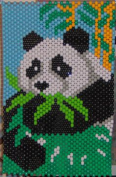 Panda Beaded Banner by CrystalsWorkshop on Etsy Pony Bead Patterns, Peyote Patterns, Beaded Jewelry Patterns, Beading Patterns, Pony Bead Crafts, Seed Bead Crafts, Beaded Crafts, Cross Stitch Designs, Cross Stitch Patterns