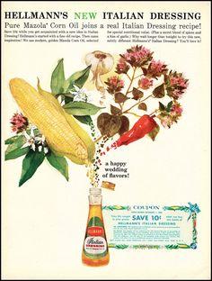 1960 Vintage Ad Hellman's Italian Dressing by DoubleLMomEphemera Retro Advertising, Retro Ads, Vintage Ads, Vintage Prints, Vintage Items, Vintage Food, Type Illustration, Food Illustrations, Vintage Kitchen Decor