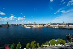 Mälarensea-Bay in Stockholm, Sweden. The old Town Gamla Stan, the town hall and the center of the city as view from the island Södermalm.