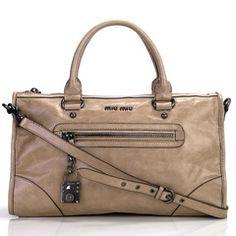 miu miu 0422 Apricot Shiny Calfskin Top Handle Bag