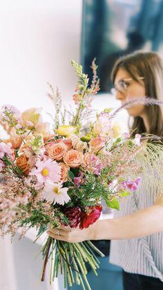 Ranunculus Wedding Bouquet, Cascading Wedding Bouquets, Wedding Flowers, Floral Design School, Floral Design Classes, Hand Tied Bouquet, Principles Of Design, Bridesmaid Bouquet, Color Theory