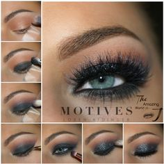 Black Smokey - Motives Mavens This is a super sexy smoky eye with sparkle - Great for Valentine's Day! Black Smokey Eye Makeup, Smokey Eye Makeup Tutorial, Eye Makeup Tips, Makeup For Brown Eyes, Coral Eyeshadow, Eyeshadow Looks, Coral Lipstick, Motives Makeup, Eyeliner Designs