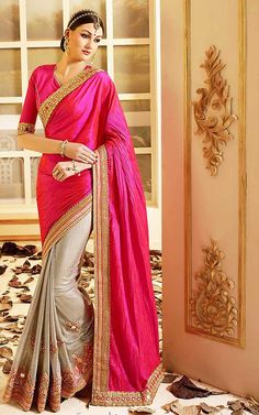 An fantastic Deep Pink Lycra Saree will make you appear very stylish and graceful. The ethnic Butta Work & Lace work at the clothing adds a sign of attractiveness statement with your look.  GET LATEST DESIGNER SAREES ONLINE @ http://www.lushika.com/sarees.html