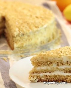 Russian Honey Cake, Russian Cakes, Chocolate Slice, Chocolate Pastry, Delicious Cake Recipes, Yummy Cakes, Baumkuchen Recipe, Easy Vegan Lunch, Sour Cream Cake