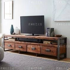 American Village loft retro wood TV cabinet to do the old wrought iron desk drawers TV cabinet living room lockers Doo