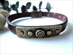 Mens' Antique Copper Chocolate Brown Leather Copper Rivet Bracelet | specialtivity - Jewelry on ArtFire