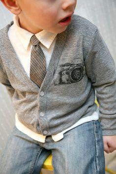 Grey linen tie for Evan for spring.