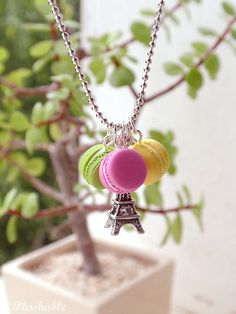 French macaron necklace with Eiffel tower charm by Plushable, $12.00