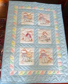 Amish Baby Quilt - Blue - Farm Animals - Hand Quilted - Hand Embroidered
