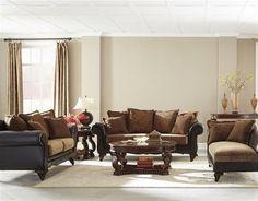 Garroway Traditional Chocolate Chenille Living Room Set