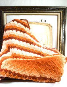 Vintage Fire-burst Handmade Crochet Afghan.