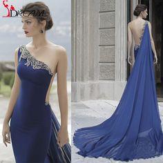 New Elegant Royal Blue Tarik Ediz 2016 Long Prom Dresses Sexy One Shoulder Backless Mermaid Formal Evening Dress robe de soiree