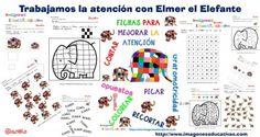 Estupendo cuaderno para trabajar la atención niveles Infantil y Primaria. Centro de interés Elmer el Elefante
