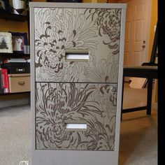 Wallpapered filing cabinet!