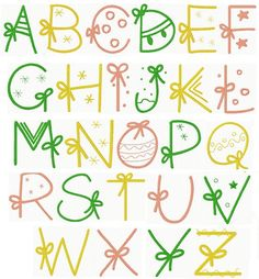Christmas Gift Alphabet More Hand Lettering Alphabet, Doodle Lettering, Creative Lettering, Lettering Styles, Alphabet Fonts, Calligraphy Letters Alphabet, Graffiti Alphabet, Typography, Bullet Journal Font