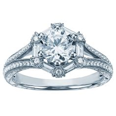 Hexagon baguette diamond ring in platinum by Monique Lhuillier, available at Blue Nile.