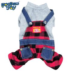 PetPawJoy Pet Plaid Overalls,Red *** Find out more details by clicking the image : Dog sweaters